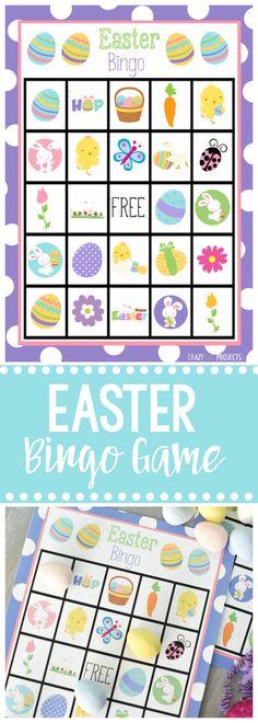 Cute Free Printable Easter Bingo Game-8 Bingo Cards Available