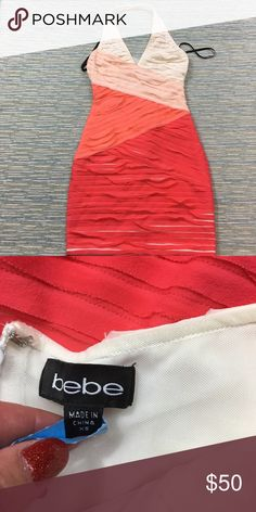 Bebe Dress Worn once and then dry cleaned! Super cute bodycon dress that will make you look stunning! bebe Dresses