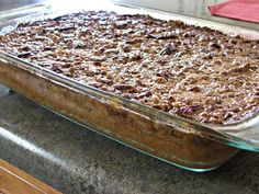 Pumpkin Dump Cake ~ A Perfect Fall Dessert  The ingredients:  1 can (15 oz.) pumpkin  1 can (10 oz.) evaporated milk  1 cup light brown sugar  3 eggs  2 teaspoons pumpkin pie spice  1 box yellow cake mix  1 cup (2 sticks) butter, melted  1 cup coarsely chopped pecans  ½ cup toffee bits