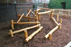 Natural play climbing frame by claudette Natural Play Spaces, Outdoor Play Spaces, Kids Outdoor Play, Kids Play Area, Outdoor Learning, Indoor Play, Playground Design, Backyard Playground, Playground Ideas