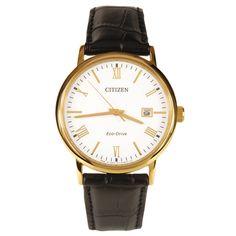 Citizen Gold Tone Black Leather Strap Mens Watch BM6772-05A Casual Designer Modern Stylish Watch