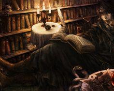 Скачать обои dragon crown, book, books, candles, feather, library, poet, раздел рендеринг в разрешении 1280x1024