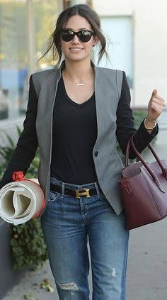 """We found some new pictures online of Emmy Rossum wearing our new """"Soulmate"""" blazer in Gray/Black! #ReeseRiley #love #fashion #swag #blazer #jacket"""