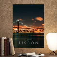 Metal Poster Lisbon City Night