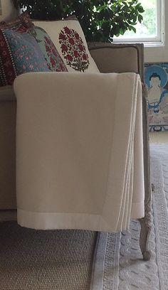 Kearsley Vanilla Fjord Cashmere Blanket with Ivory Essentials Sateen Border