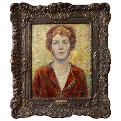 Robert REID : Portrait of a Woman Oil Painting, ca. Late 19th Century