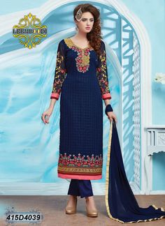 Awesome designer salwar suits. Buy Georgette dresses with Cleanr embroidery, Patch and Stone work.