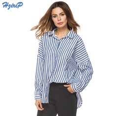 872a583e1fb7 HziriP Elegant Long Sleeve Striped Shirt Top Women Blouses 2017 New Autumn  Ladies Loose Casual Work