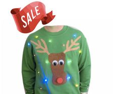 Ugly Christmas Sweater - Lights Up! - Rudolph -  LED Lights - Light Up Christmas Sweater - SALE!!  10 OFF!!  _____**Fast Shipping**_____