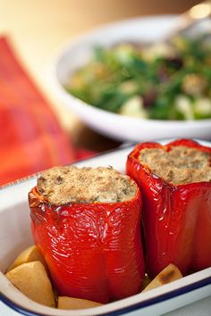Red Peppers Stuffed with Ricotta, Caramelised Broccolini and Toasted Walnuts [Greek Vegetarian]