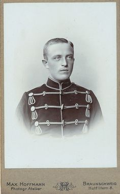 Studio portrait of a trooper in the 17th Hussar Regiment stationed in Bruanschweig. This photo was taken at the studio of Max Hoffmann.