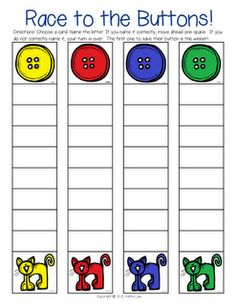 Free! Race to the Buttons...naming letters or modify for therapy fun! Repinned by SOS Inc. Resources @sostherapy.