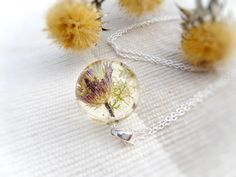 "#Necklace dried flowers sphere transparent lens real flower necklace herbarium botanical jewelry pressed wild forest flower.  Pendant size: ball is 21 mm dia (53/64"""") Sterl... #etsy #artisanbot #bestofetsy #artfire #etsyretwt #gift #necklace #pendant"