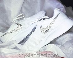 Blinged Out Nike® Tanjun SE Womens in all white with SWAROVSKI® Crystal 41062e3e73