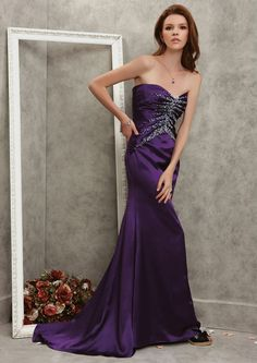 Sirène robe de fête en soie satin