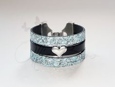 Black Leather and Blue Sparkle Vegan Flat Cord by OllieBooJewelry, $40.00 @Ollie Boo Jewelry By Jenn