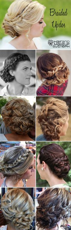 Braided updos via blog.hairandmakeupbysteph.com Sort of makes me wish my hair was long to try these....