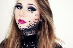 a few sparks: Halloween /Carnival Make-up: Spider Woman Halloween Spider Makeup, Diy Halloween, Spider Costume, Looks Halloween, Halloween Carnival, Halloween 2019, Fx Makeup, Party Makeup, Makeup Ideas