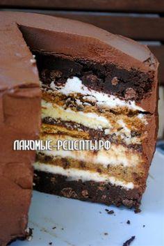 Семислойный торт (брауни, чизкейк, глазурь...)