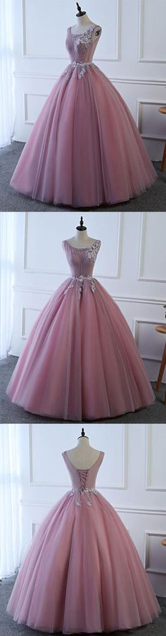 2018 New Evening Gown | A beautiful pink tulle poofy senior prom dress #prom #dresses #gowns #promdress #promdresses