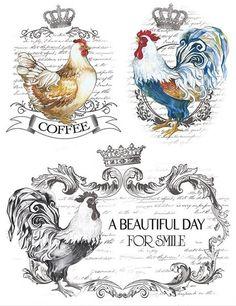 Vintage Labels, Vintage Cards, Vintage Paper, Vintage Images, Paper Art, Paper Crafts, Etiquette Vintage, Decoupage Printables, Rooster Art