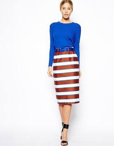 ASOS | ASOS Pencil Skirt In Multi Stripe at ASOS