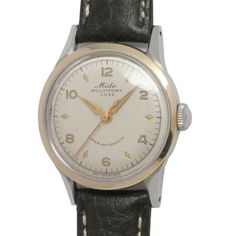 Mido Stainless Steel and Gold Multifort Wristwatch circa 1950s