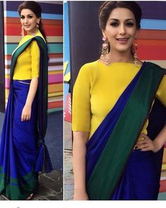 What do you think of colour blocked saree? Sari Blouse Designs, Fancy Blouse Designs, Designer Blouse Patterns, Saree Jacket Designs, Neckline Designs, Saree Wearing Styles, Saree Styles, Blouse Styles, Trendy Sarees