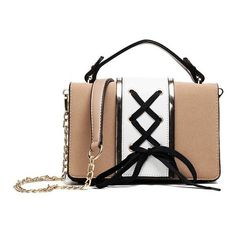 Khaki Lace Up Color Block Crossbody Bag (16 AUD) ❤ liked on Polyvore featuring bags, handbags, shoulder bags, colorblock crossbody, cross-body handbag, white crossbody handbags, white handbags and white shoulder bag