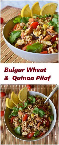 Healthy bulgur wheat and quinoa pilaf recipe made with bulgur wheat, red quinoa…