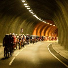 Peloton passes through a tunnel during the 2013 Arctic Race of Norway