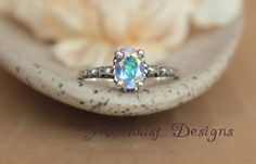 Opalescent Topaz Filigree Engagement Ring in Sterling Silver - Unique Promise Ring - Rainbow Commitment Ring - Colorful Gemstone Ring