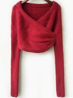 Jersey punto crop manga larga-rojo