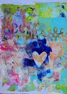 Love this gelli print by @Dina Dankers Wakley ... cool colors!