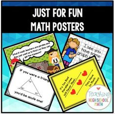Just for Fun Math Posters Bundle by Teaching High School Math Math 5, Math Teacher, Math Classroom, Fun Math, Teaching Math, Circle Formula, Plane Geometry, Math Cartoons, Math Bulletin Boards