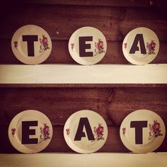 "Vintage ""TEA"" & ""EAT""wall plates! These are reclaimed vintage plates that have been transformed and given a new lease of life, you can hang these on the wall or for decoration in that special place in your house :)"
