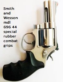 Smith and Wesson mdl 696 44 special with combat grips! Smith and Wesson Rosewood grips available in store! http://stores.ebay.com/gcesports/