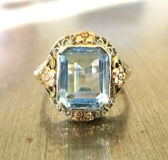Antique Edwardian Aquamarine Ring  by AntiqueSparkle on Etsy
