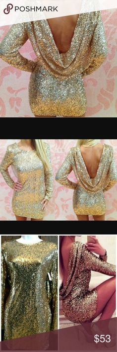 Draped Back Gold Sequins Dress Darker gold large available. (3rd pic) Lighter gold medium is sold! (2nd pic) Bundle to save. Dresses Long Sleeve
