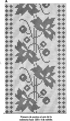 Crochet Borders, Cross Stitch Borders, Crochet Flower Patterns, Cross Stitch Charts, Crochet Doilies, Cross Stitching, Crochet Stitches, Cross Stitch Embroidery, Cross Stitch Patterns