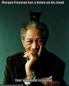 Morgan Freeman has a kitten on his head. Your argument is invalid.