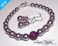 Wedding Mother of The Bride Gift Bracelet and Earrings Set Swarovski Mauve Pearl Amethyst Bling Ball Sterling Silver FREE US Shipping. $36.00, via Etsy.