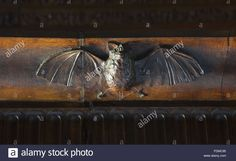 Carved bat on the headboard of the State Bed at Kingston Lacy, Dorset. The bedstead in the State Bedroom was carved in walnut and holly woods by Vincenzo Favenza in 1855.