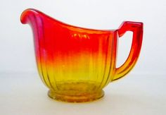 Vintage, Amberina, Yellow Orange and Red Glass creamer. Excellent condition and just gorgeous! This Amberina glass creamer stands 3 to the tallest