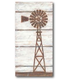 Love this Farmhouse Windmill Wrapped Canvas by Courtside Market on Farm Windmill, Windmill Wall Decor, Windmill Decor, Arte Pallet, Pallet Art, Farmhouse Paintings, Rustic Painting, Graffiti, Farm Art