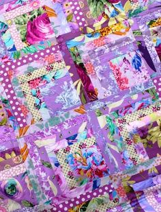 ['Purple Rain' half log cabin quilt from The Gentle Art of Quilt-Making] I think the half log cabin quilt block is an inspired design. Utterly simple, easy to make with basic strips and squares and, like tulips, capable of infinite...