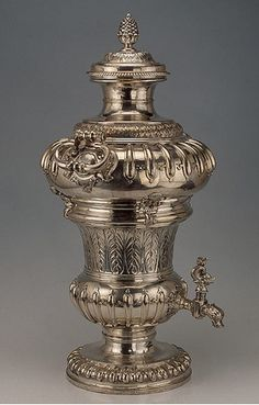 Wine Fountain, by Paul de Lamerie, 1720. Hight 70cm. The Hermitage Museum. Lamerie gained far-reaching fame in the 18th century