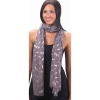 Show details for Gray Foil Feathers Pattern Scarf