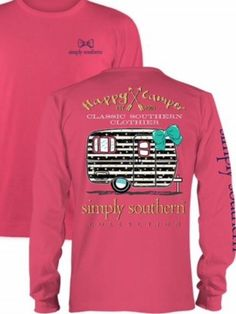 This long sleeve Simply Southern tee has a cute blue and gold camper image on the back with the words Happy Camper along the top in gold!