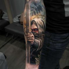 beste tattoos, unterarm tätowieren lassen, frau mit maske und pfeilbogen, realitisch This is actually the Tattoo Henna, Forearm Tattoos, Body Art Tattoos, Sleeve Tattoos, 3d Tattoos For Men, Unique Tattoos, Beautiful Tattoos, Tattoo Girls, Girl Tattoos